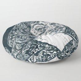 RENE DESCARTES ink portrait Floor Pillow