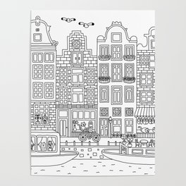 Amsterdam Line Art Poster