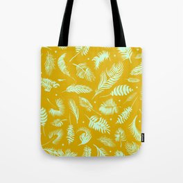 Golden palm pattern with bright mint color Tote Bag
