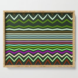 Chevrons and distorted stripes Serving Tray
