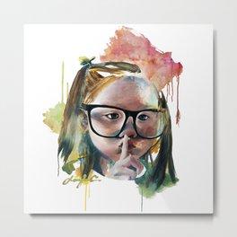 Girl with big glasses Metal Print