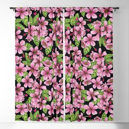 Pink Crabapple Blossoms - Floral Pattern Blackout Curtain