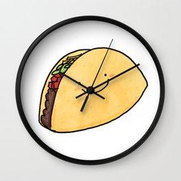 Cute Taco White Background Wall Clock