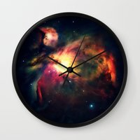 nebula Wall Clocks featuring Orion NEbula Dark & Colorful by 2sweet4words Designs
