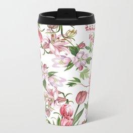 Pink flowers Metal Travel Mug