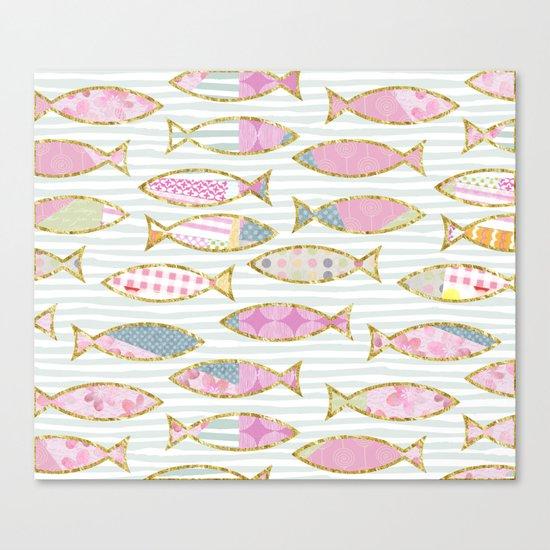 Fancy Fish pastel patchwork pattern Canvas Print