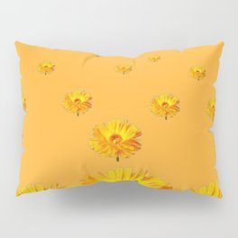 FLOATING GOLDEN FLOWERS  GREY COLLAGE Pillow Sham