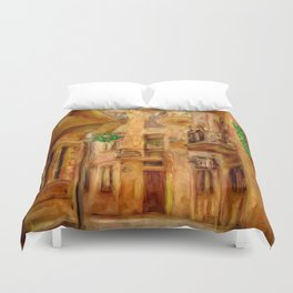 Italian City Street Duvet Cover