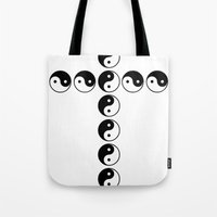 ying yang Tote Bags featuring YING YANG by LOLZZ