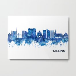 Tallinn Estonia Skyline Blue Metal Print