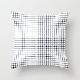 Dotted Grid Weave Blue Black Throw Pillow