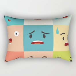 Negative emoticons vector pattern. Emoji square icons Rectangular Pillow