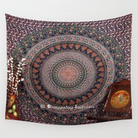 bedding Wall Tapestries featuring Blue Printed Elephant Tapestry Bedding by Ved India
