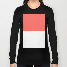 White and Pastel Red Horizontal Halves Long Sleeve T-shirt