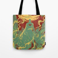 gotham Tote Bags featuring Gotham Knight by Hai-ning