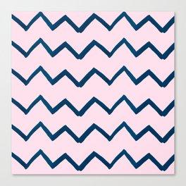 Geometric baby pink navy blue watercolor chevron Canvas Print