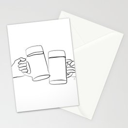 """ Kitchen Collection "" - Two Hands Holding Beer Glasses Stationery Cards"