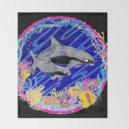 Vaquita Porpoises In Sea life Wreath Throw Blanket