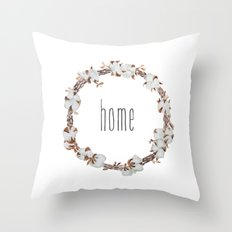 Cotton boll wreath Throw Pillow