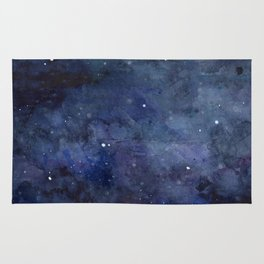 Galaxy Nebula Watercolor Night Sky Stars Outer Space Blue Texture Rug