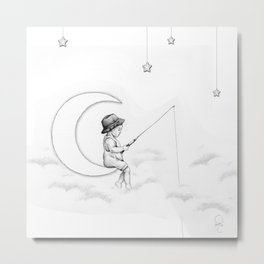 Boy Fishing Metal Print