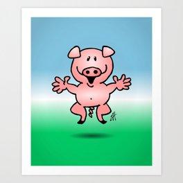 Cheerful little pig Art Print