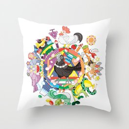 colorful hue circle gradation with black and white crow Throw Pillow