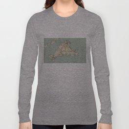 Vintage Map of Martha's Vineyard (1917) Long Sleeve T-shirt