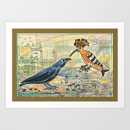 The Crow and the Hoopoe Art Print
