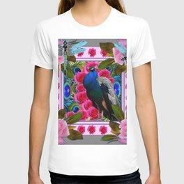 BLUE DRAGONFLIES PEACOCK & PINK ROSES ART T-shirt