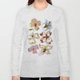 Silk Screen Floral Long Sleeve T-shirt