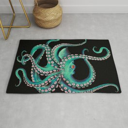 Octopus Tentacles Dance Teal Watercolor Ink Black Rug