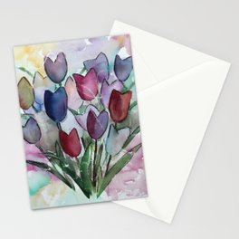 Loose semi-abstract tulip painting Stationery Cards