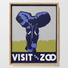 Vintage Visit the Zoo Elephant Serving Tray