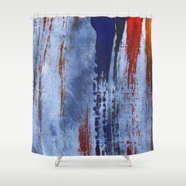 Red blue painting Shower Curtain