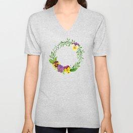 Watercolor pansies wreath Unisex V-Neck