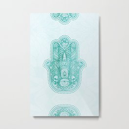 Aqua Eyes Hamsa Hand Metallic Mint Metal Print