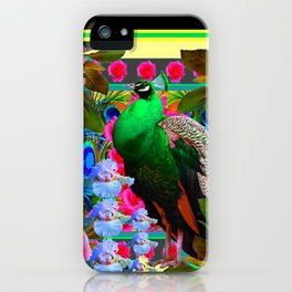 PINK ROSES & GREEN PEACOCK YELLOW GARDEN FLORAL ABSTRACT iPhone Case