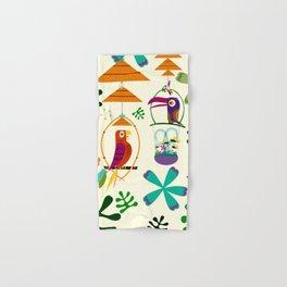Vintage Modern Tiki Birds Hand & Bath Towel