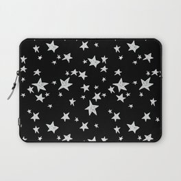 Linocut black and white stars outer space astronauts minimal Laptop Sleeve