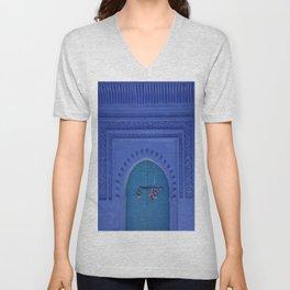 Islamic Architecture Blue Turquoise Secret Doorway Beautiful Engravings Unisex V-Neck