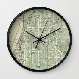 Vintage Map of Lafayette Indiana (1876) Wall Clock