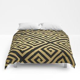 Black and gold high fashion Greek key pattern Comforters