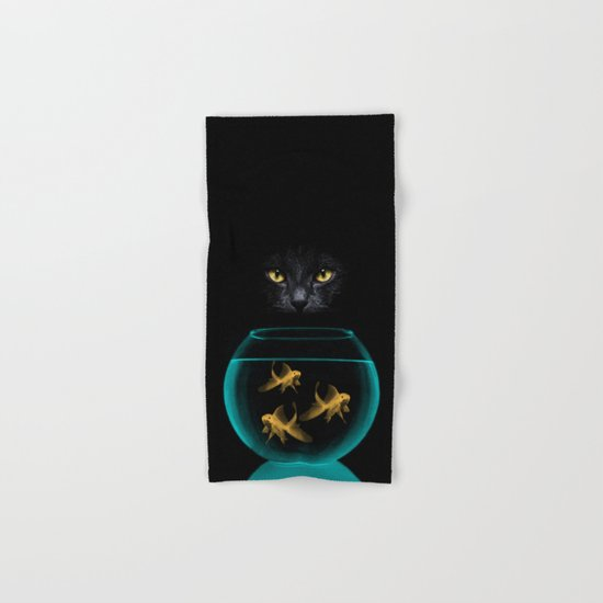 Black Cat Goldfish Hand & Bath Towel