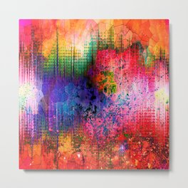 Neon Stained Glass Explosion Metal Print