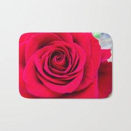 Red Rose Close Up Bath Mat