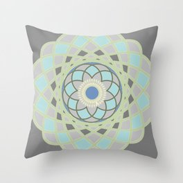 Spirograph Mandala 1 | Slate Grey Blue and Green Bohemian  Throw Pillow