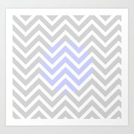 Periwinkle Gray & White Zig Zag Stripes Art Print