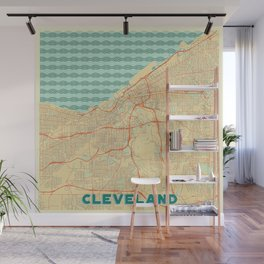 Cleveland Map Retro Wall Mural