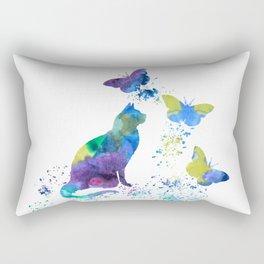 Colorful Cat Art Rectangular Pillow